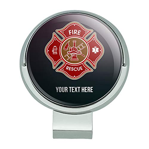 (GRAPHICS & MORE Personalized Custom 1 Line Firefighter Maltese Cross Fire Rescue Golf Hat Clip with Magnetic Ball)