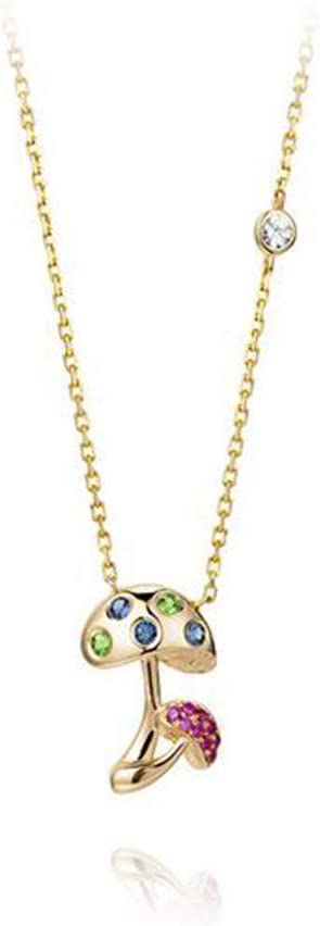 DXGems Colorear Seta, Piedras Preciosas Naturales Zafiro/Rubí Diamantes Colgante, Oro Amarillo 18 Quilates Collar para Mujer/Esposa/Novia, Regalo de San Valentín