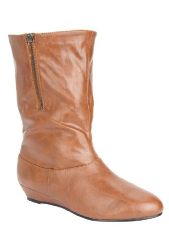 Jessica London Kiki Demi-Wedge Boot Cognac,8 W