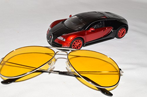 Driver-Rx 'Ferrari' -Special DESIGNER Driving Glasses with Amber Tint Helps Your Vision While Driving Blue Ray, UV Protection, Anti Fatigue, Relieves Eye Strain. Stylish, Unisex. FREE Case & - Amber Night Glasses Driving
