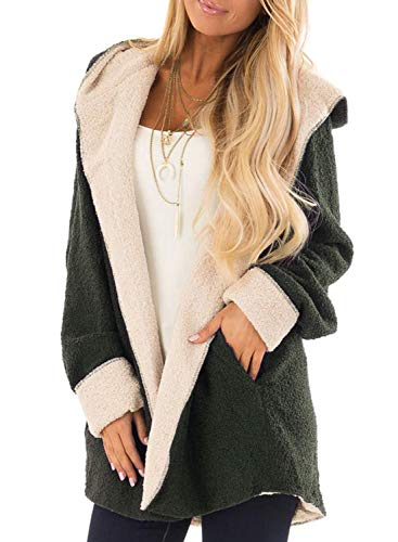 Sidefeel Women Open Front Shaggy Cardigan Hooded Fleece Coat