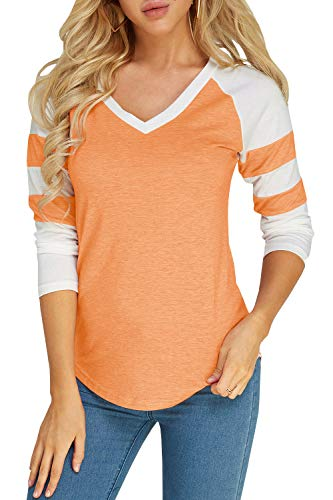 Foshow Womens Long Sleeve Raglan Baseball Tee Jersey Striped V Neck Blouses Tshirts (Medium, Orange)
