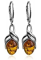 Honey Amber Sterling Silver Classic Leverback Earrings