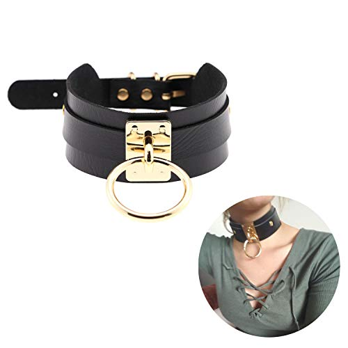 Black Choker Necklace Classic Punk Goth Choker Gothic PU Leather O-Ring Collar Sex Choker Metal for Girls Women Gold Color