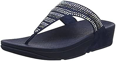 Fitflop Lulu Toe-Thong Sandals-Shimmer-Check, Sandalias para Mujer, Azul (Midnight Navy 399), 40 EU