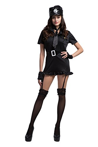 Honeystore Women's Dirty Cop Officer Police Woman Costume