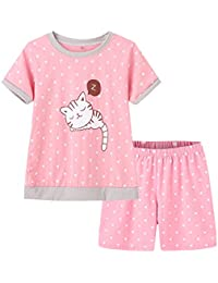 d6972fc651 Young Girls Pajama Cute Cat Pattern Nighty Comfy Shorts Cotton Sleepwear