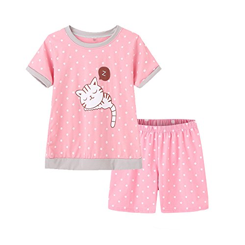MyFav Young Girls Pajama Cute Cat Pattern Nighty Comfy Shorts Cotton Sleepwear ()