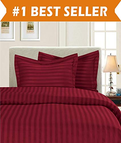 Best Luxury Linens Duvet Cover Set Super King 108'' X 98'' Size 3pc Duvet Cover Set with Zipper Closure & Corner Ties, Ultra Silky Soft Premium (100% Natural Cotton) 920 Thread Count -Burgundy Stripe