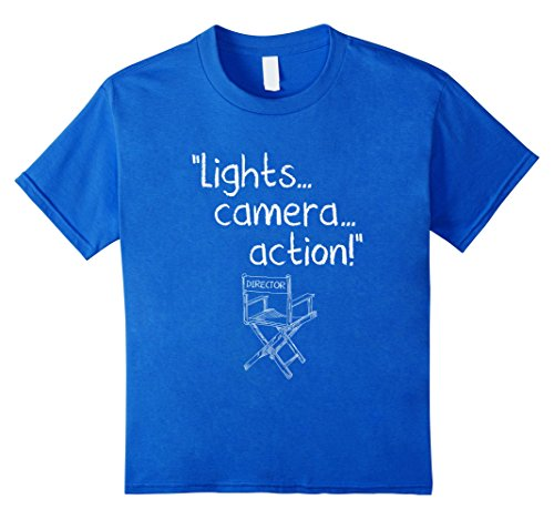 Youth Director Chair - Kids Lights Camera Action Tshirt Directors Chair T shirt Movie 8 Royal Blue