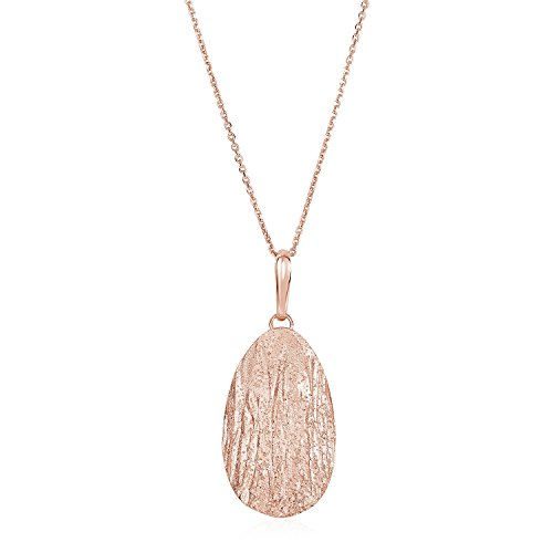 Textured Oval Pendant with Rose Finish in Sterling (Textured Oval Pendant)