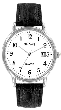 16bbc777be Shivas - A18391-201 - Montre Homme - Quartz Analogique - Cadran Blanc -  Bracelet