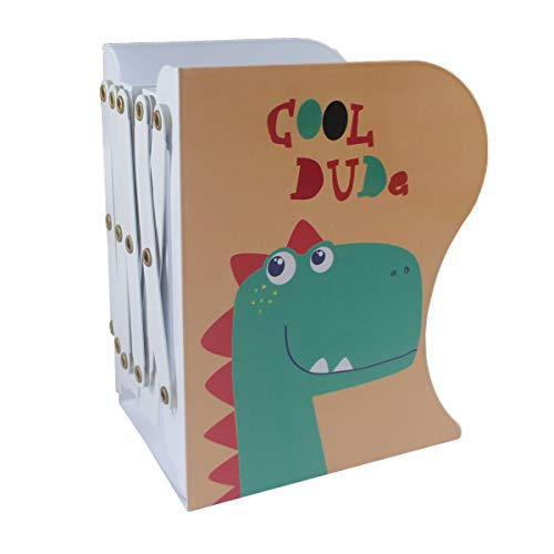 Citmage Adjustable Bookend Metal Dinosaur Pattern Bookends Non-Skid Heavy Duty Book Holder Stand Hold Books,Magazines,Cookbooks(7.55'' x 5.9'') - Bookends Childrens