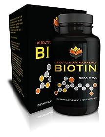 Me First Living Vegan-Friendly Biotin 5,000 MCG Vitamin Dietary Supplement Capsule for Hair, Skin and Nails, 120 Capsules