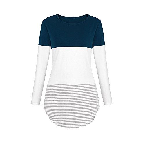 Mecohe Shirt Shirt Maniche Elasticizzati a Scuro Blouse Donne Casual Top a Daily Patchwork Lunghe Righe Blu T rwIT6rBxq
