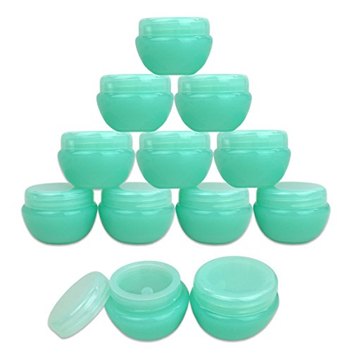 Beauticom 12 Pieces 10G/10ML Green Frosted Container Jars wi
