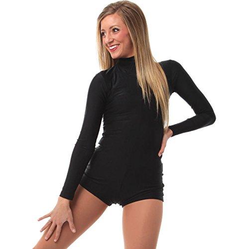 Alexandra Collection Womens Basic Black Long Sleeve Dance Costume Biketard Black Medium