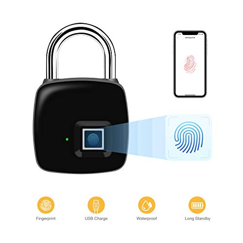 Fingerprint Padlock, Famisafe Bluetooth Smart Lock Metal Waterproof, Suitable for Door, Suitcase, Backpack, Bike, Gym, Cabinet, Work with Android/iOS