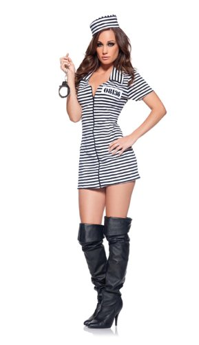 [Underwraps Women's Miss Behaved, Black/White, Medium] (Piper Chapman Costume)