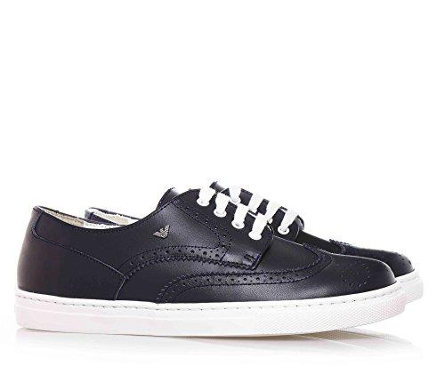 ARMANI - Chaussure bleue à lacets, en cuir, avec logo en métal, perforée, garçon, garçons, homme, enfant