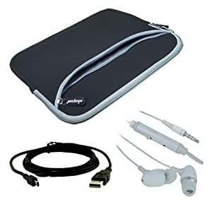 "Premium Black Dual Pocket Carrying Bag + USB Cable + White Earphone w/mic for ViewSonic gTablet 10"" Multi-Touch LCD Screen"