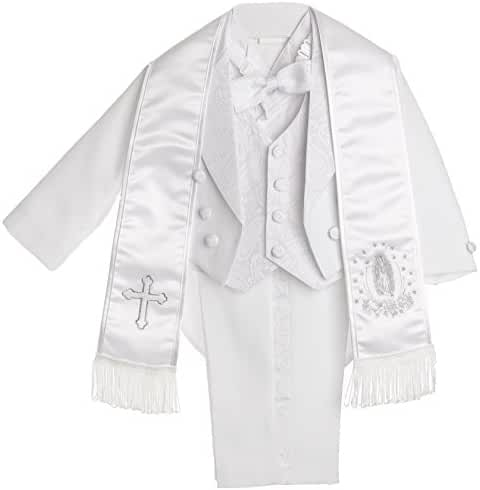 Boy White Tail Paisley Design Christening Outfit, Virgin Embroidered Tuxedo Baptismal Suit By Caldore USA