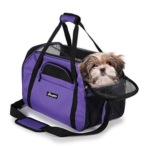 JESPET Soft Pet Carrier for Small Dogs, Cats, Puppy, 17″ Airline Approved Portable Carrier Bag for Airline, Purple
