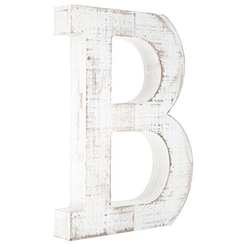 Distressed White Alphabet Wall Décor/Free Standing Monogram Letter B (Letters Wall Wooden Monogram)