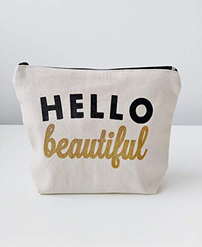 (Hello Beautiful Canvas Makeup Bag Makeup Pouch Gift for Her Birthday Gift Bridesmaid Gift for Her)