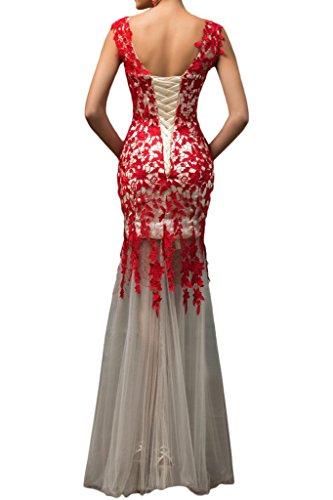 Donna BRAUT 42 Vestito rosso TOSKANA OxzYEq8w
