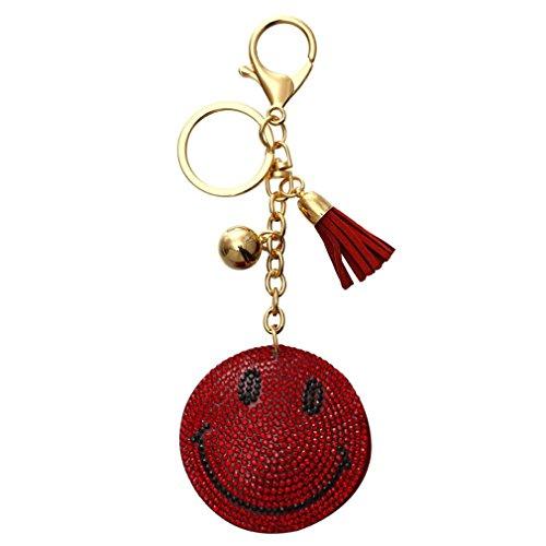 (Charm Key Chain Pendant Rhinestone Expression Keychain Women Handbag Car Golden Plated Keyring FT121A)