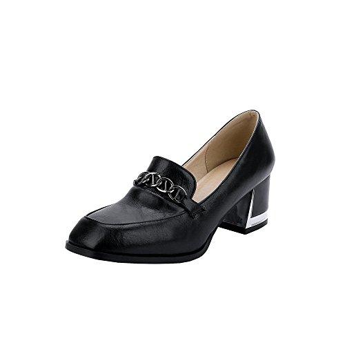 Charm Foot Vintage Bombas De Tacón Grueso Para Mujer Zapatos Negro