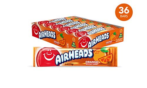Airheads Candy, Individually Wrapped Bars, Orange, Non Melting, Party, 0.55 Ounce (Pack of -