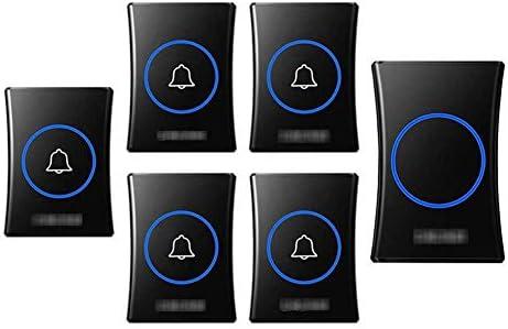壁のプラグインコードレスドアチャイム、防水ドアベルキットのプラグ、1000フィートの範囲で最高のコードレスドアチャイム38チャイム4レベルボリューム(5つのプッシュボタンと1つのレシーバー),黒