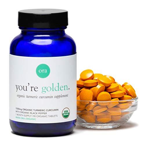Ora Organic Turmeric Pills - (90 Tablets) Organic Turmeric Curcumin Pills (1500mg) with Black Pepper (Piperine) Per Serving, Joint Support Supplement, Non-GMO, Vegan, Gluten Free