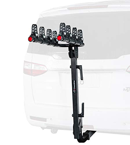 Overdrive 4-Bike Rack Premium Bicycle Carrier – Hitch Mounted for 2 Inch Receiver – Double Foldable, Smart Tilting Design