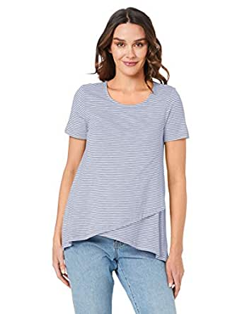 Ripe Maternity Women's Maison Nursing Tee, Grey/White, S