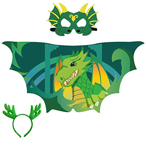 Dinosaur-Wings Mask Costume Set for Kids Party with Dragon Headband -Boys Girls Dragon Dress Up Accessory Purple