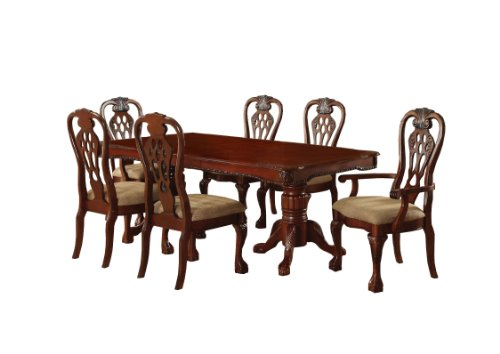 Furniture of America Lissenia 7-Piece Formal Dining Table Set with 18-Inch Expandable Leaf, Cherry Finish ()
