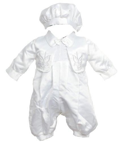 Cinda Neonati Maschi Vestito del Battesimo, Gilet e Cappello Bianco 1