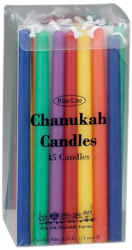 Chanukah Multi Color Candle - Rite -Lite Judaica Deluxe Chanukah Candles, Multicolor. Box of 45`