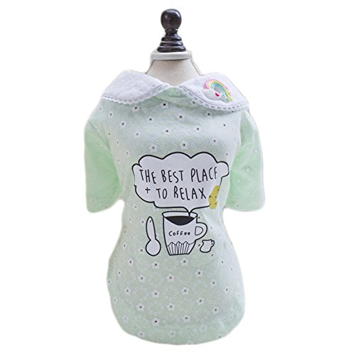 S-Lifeeling Sweet Dress Coffee Pattern Spring Summer Teddy Dog Clothes Pet Costumes Cozy Afternoon]()