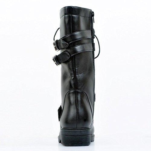 Kolnoo Femmes Mode Euro Style Bottes Cavalier Or Métal Deco hiver Chaussures Sexy Black eaZ1q5vVz