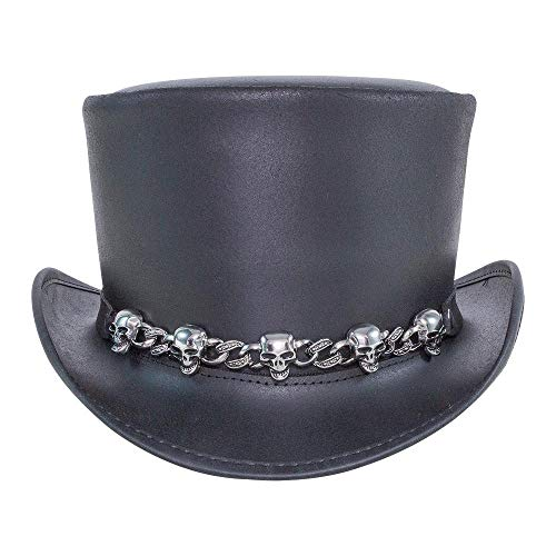 02bbe1e267a1 Voodoo Hatter El Dorado-5 Skull Band by American Hat Makers Iconic Leather  Top Hat