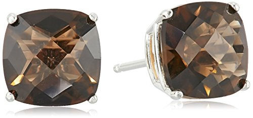 Sterling Silver Cushion-Cut Checkerboard Smoky Quartz Stud Earrings (8mm) ()