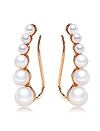 Pearl Earring Crawels for Women with Rose Gold Plated (Size 4mm-6mm)