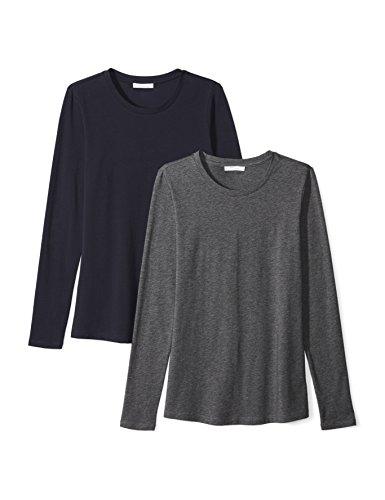 Amazon Brand - Daily Ritual Women's Stretch Supima Long-Sleeve Crew Neck T-Shirt, Navy/Charcoal Heather Grey, Medium