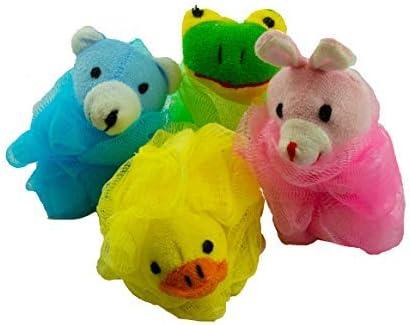 Childrens Animal Bath Sponge Loofah 4 Pack