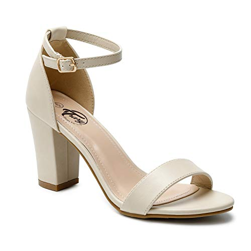 (Trary Women's Ankle Strap and Adjustable Buckle Chunky Pump Heel Sandals Pu Beige 05)