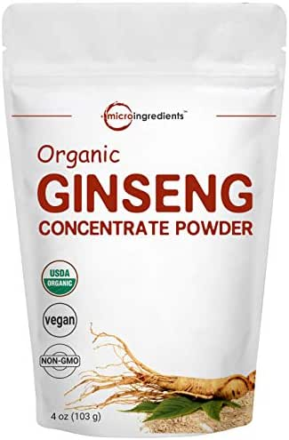 Maximum Strength Organic Ginseng Root 200:1 Powder, 4 Ounce, Support Energy, Immune, Mental Health and Physical Performance, No Irradiated, No Pesticide, No GMOs and Vegan Friendly
